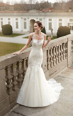 Eddy K '1078' size 8 used wedding dress front view on model