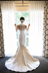 Victor Harper Couture '431' size 2 used wedding dress back view on bride