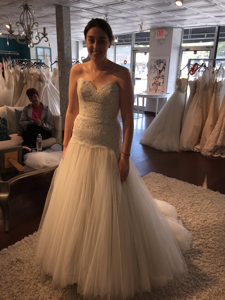 Watters 'Britt' size 8 used wedding dress front view on bride