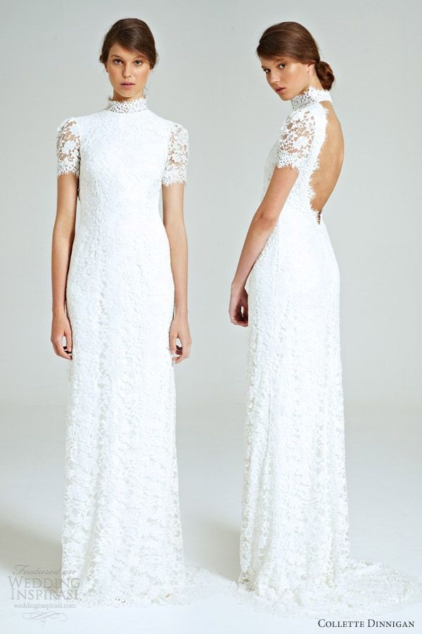 Collette Dinnigan 'Snowflake' size 0 sample wedding dress front/back views on model