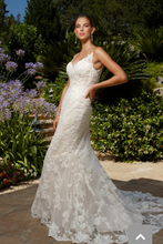 Load image into Gallery viewer, Casablanca 'Exotic Escape 1975' size 4 used wedding dress front view on model