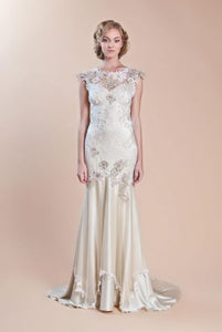 Claire Pettibone 'Viola' size 2 used wedding dress front view on model