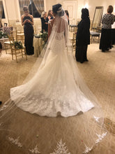 Load image into Gallery viewer, Eve of Milady 'Amalia Carrara' size 12 used wedding dress back view on bride