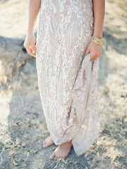 Elie Saab Light Taupe Fully Sequined Wedding Dress - Elie Saab - Nearly Newlywed Bridal Boutique - 3