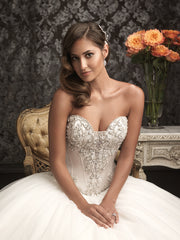 Allure Bridals '9017' size 6 new wedding dress front view close up on model