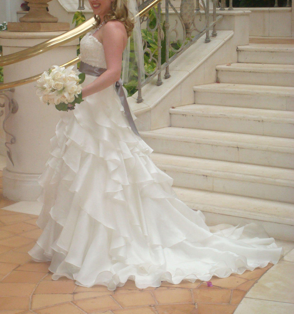 Jim Hjelm Semi Sweetheart Ruffled Ball Gown with Platinum Sash - Jim Hjelm - Nearly Newlywed Bridal Boutique - 5