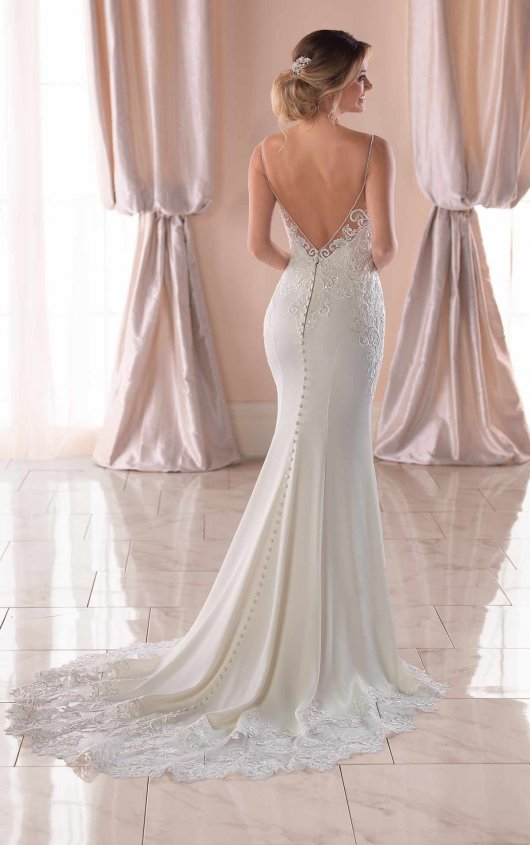 Stella York 'Sexy Beach' size 10 new wedding dress back view on model