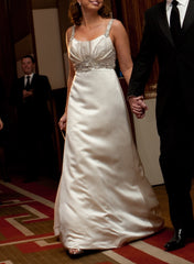 Kenneth Pool 'Promise' size 6 used wedding dress front view on bride