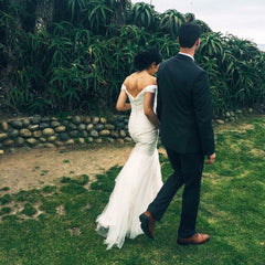 Essence of Australia '1802' size 0 used wedding dress back view on bride