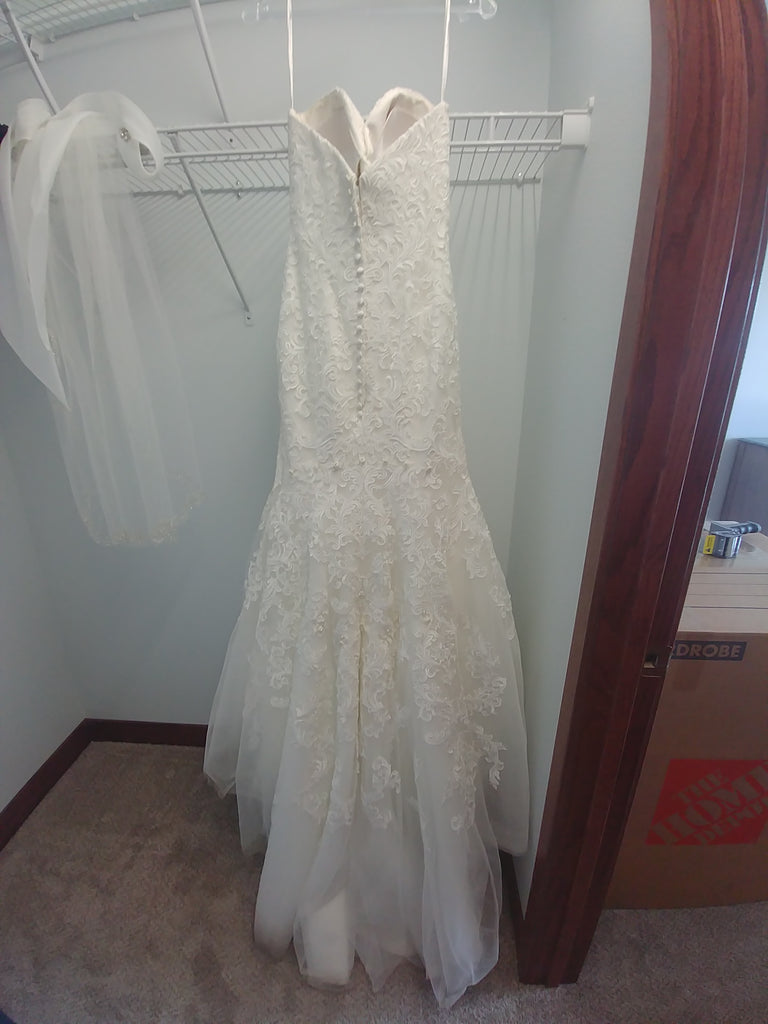 Allure 'Romance' size 8 used wedding dress back view on hanger