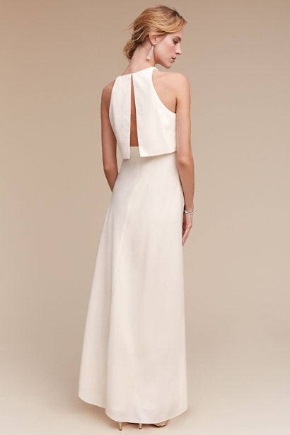 BHLDN 'Iva Crepe Maxi' size 0 used wedding dress back view on model