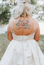 Load image into Gallery viewer, Amsale 'Ryan' size 12 used wedding dress back view on bride