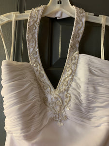 David's Bridal 'Satin' size 4 new wedding dress front view on hanger