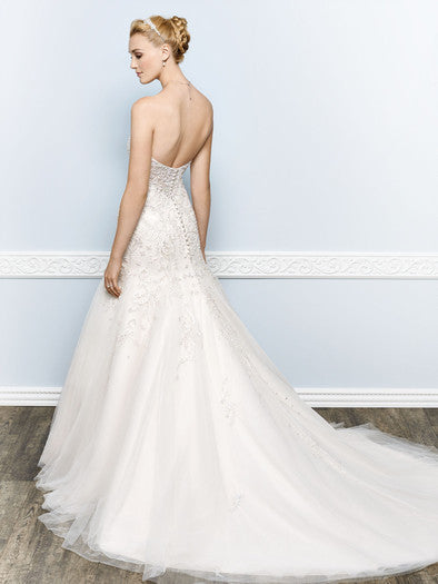 Kenneth Winston '1656' size 6 used wedding dress back view on model