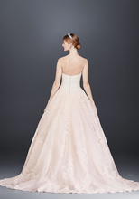 Load image into Gallery viewer, Oleg Cassini 'Strapless Petite' size 12 new wedding dress back view on model