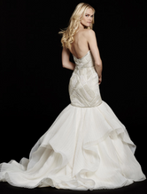 Load image into Gallery viewer, Hayley Paige 'Yoko 6561' size 10 used wedding dress back view on model