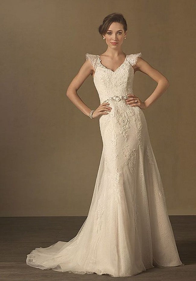 Alfred Angelo '2437' size 12 used wedding dress front view on model