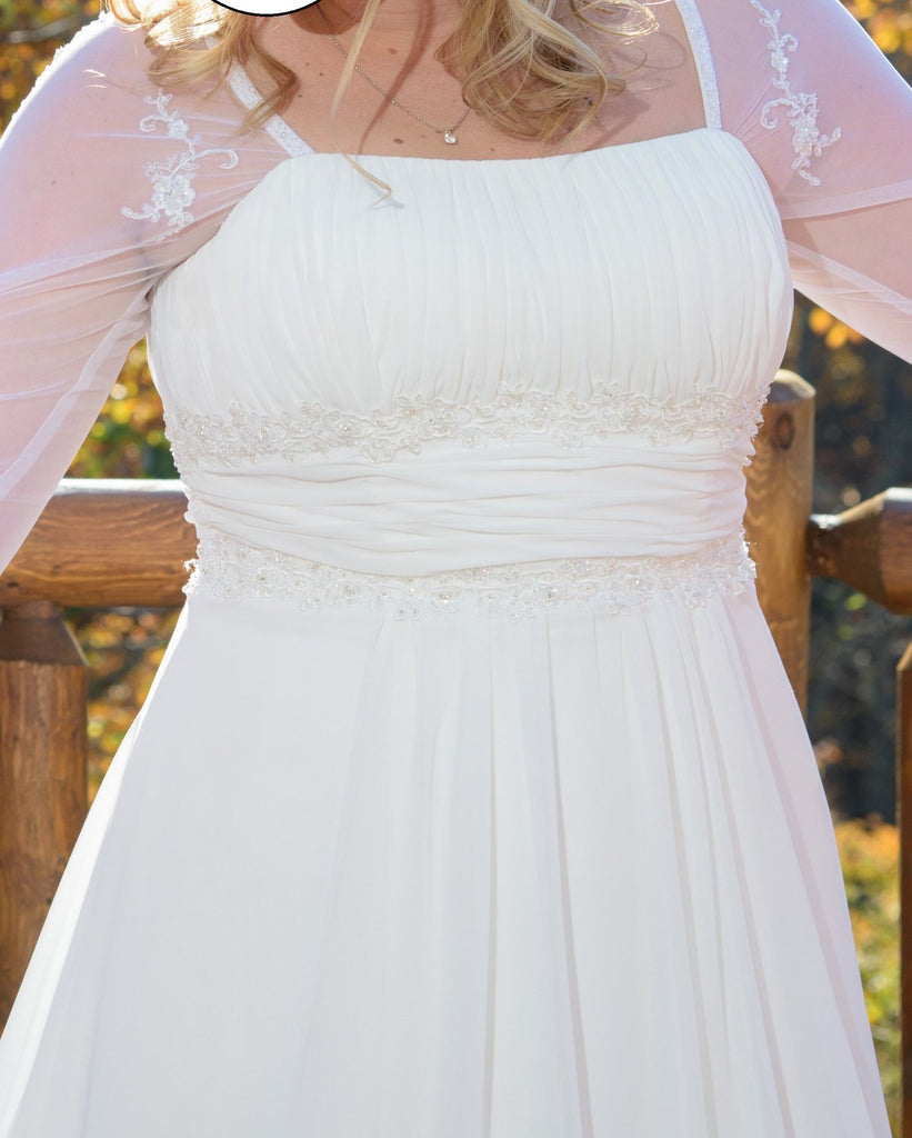 David's Bridal 'Soft Chiffon' size 14 used wedding dress front view on bride