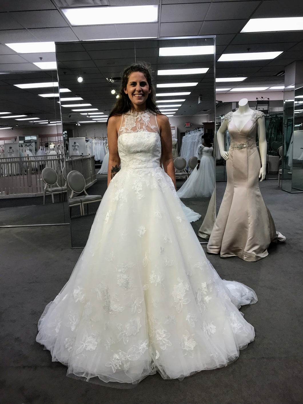 White by Vera Wang ' Illusion Floral VW18' – Nearly Newlywed