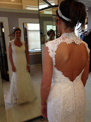 Justin Alexander 'Gorgeous' size 6 used wedding dress back view on bride