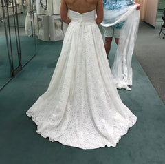 David's Bridal 'Lace Halter' size 6 new wedding dress back view on bride
