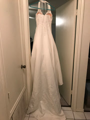 Custom 'Imperial' size 8 used wedding dress back view on hanger