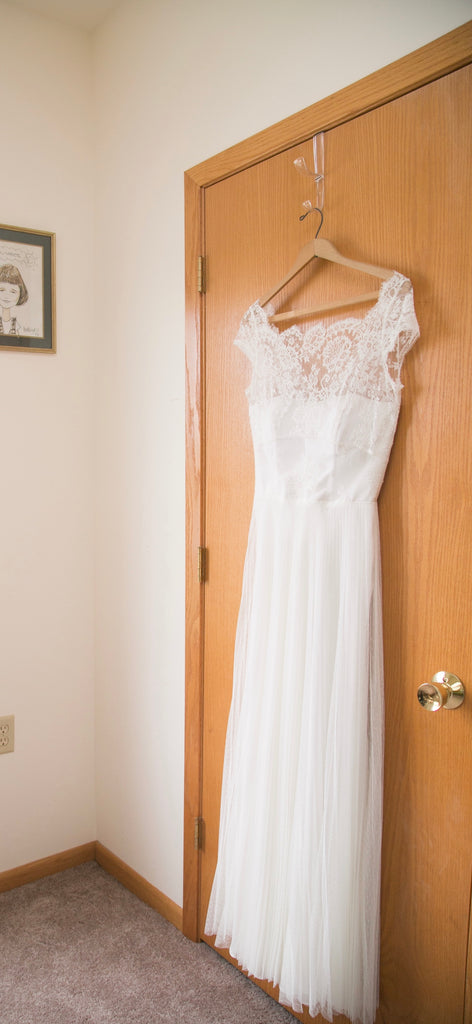 Rebecca Schoneveld 'Julie' size 8 used wedding dress front view on hanger
