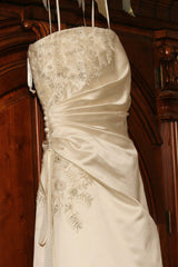 Vera Wang Strapless Gown with Flowers at Bust - Vera Wang - Nearly Newlywed Bridal Boutique - 2