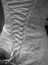 Load image into Gallery viewer, Maggie Sottero 'Beaded' size 8 used wedding dress back view of lace up