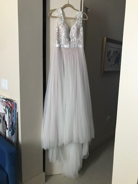 Wtoo 'Marnie' size 0 used wedding dress front view on hanger