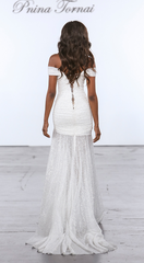 Pnina Tornai 'Glitter Draped' size 8 used wedding dress back view on model
