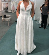 Load image into Gallery viewer, David's Bridal 'Lace Halter' size 6 new wedding dress front view on bride