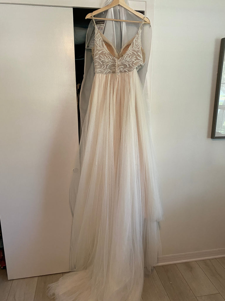 Maggie Sottero 'Charlene' size 6 used wedding dress back view on hanger