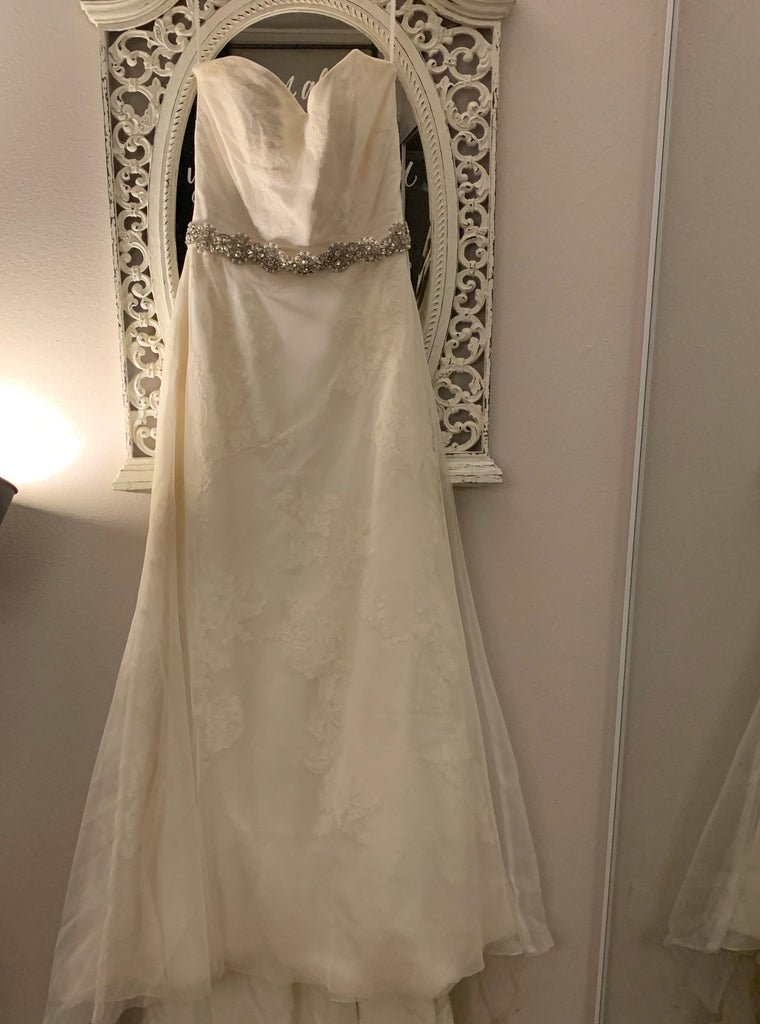 Modern Trousseau 'Ryan' size 10 used wedding dress front view on hanger