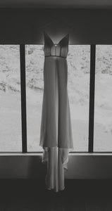 Sarah Seven 'Custom' size 0 used wedding dress front view on hanger