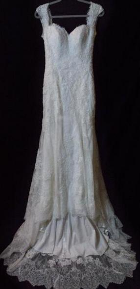 Casablanca '2215' size 10 used wedding dress front view on hanger