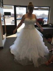 David's Bridal 'Jewel Strapless' size 12 new wedding dress front view on bride