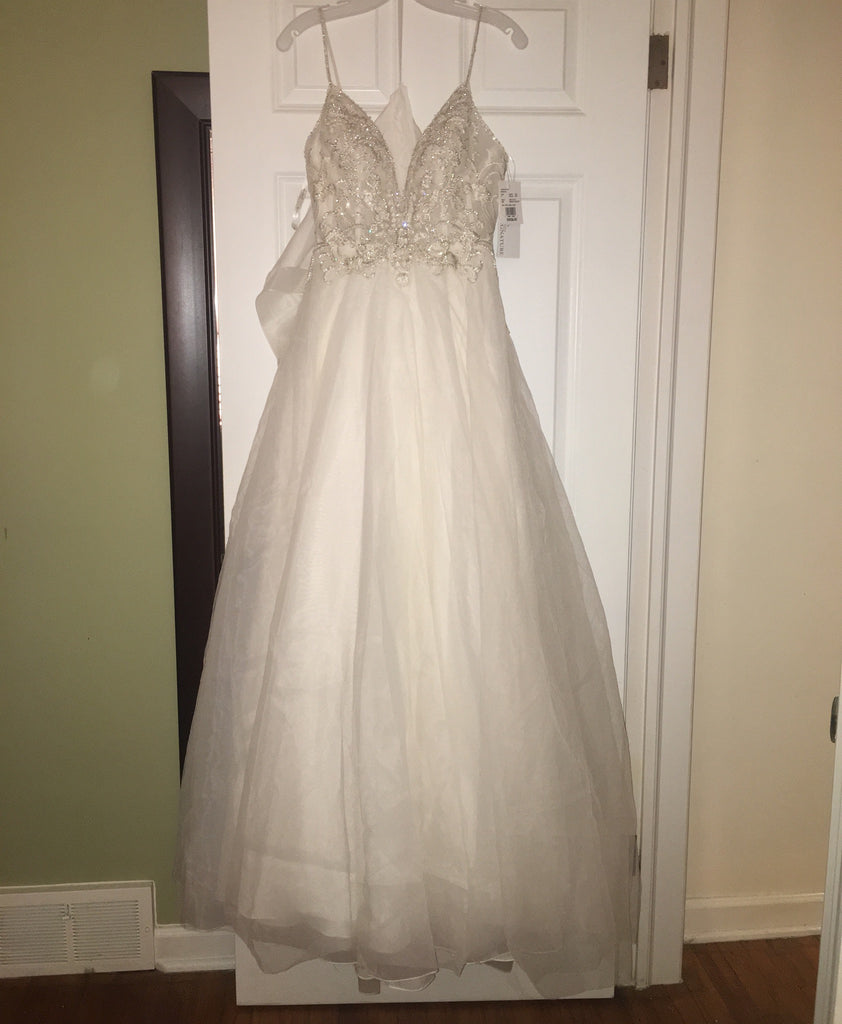 Galina Signature 'Sheer Beaded' size 6 new wedding dress front view on hanger