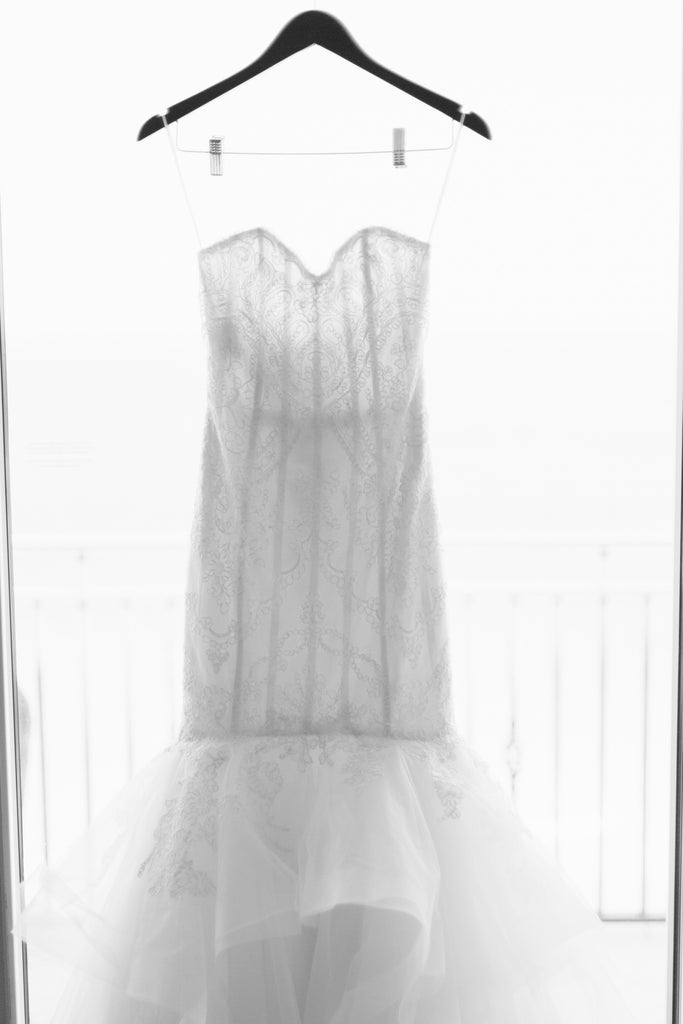 Amsale 'Carson' size 0 used wedding dress front view on hanger