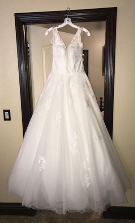 Alfred Angelo '2577' size 10 used wedding dress front view on hanger