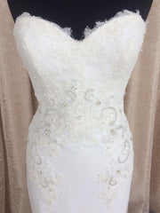 Pronovias 'Alicia' size 8 sample wedding dress front view close up on mannequin