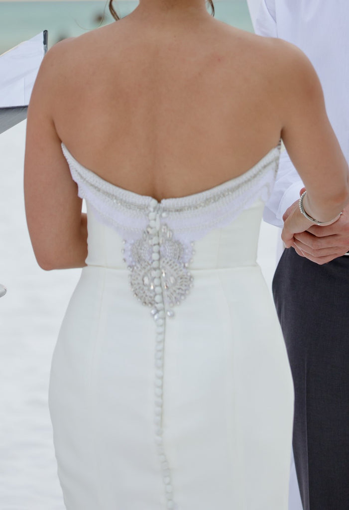 Cristiano Lucci 'Lana' size 2 used wedding dress back view on bride