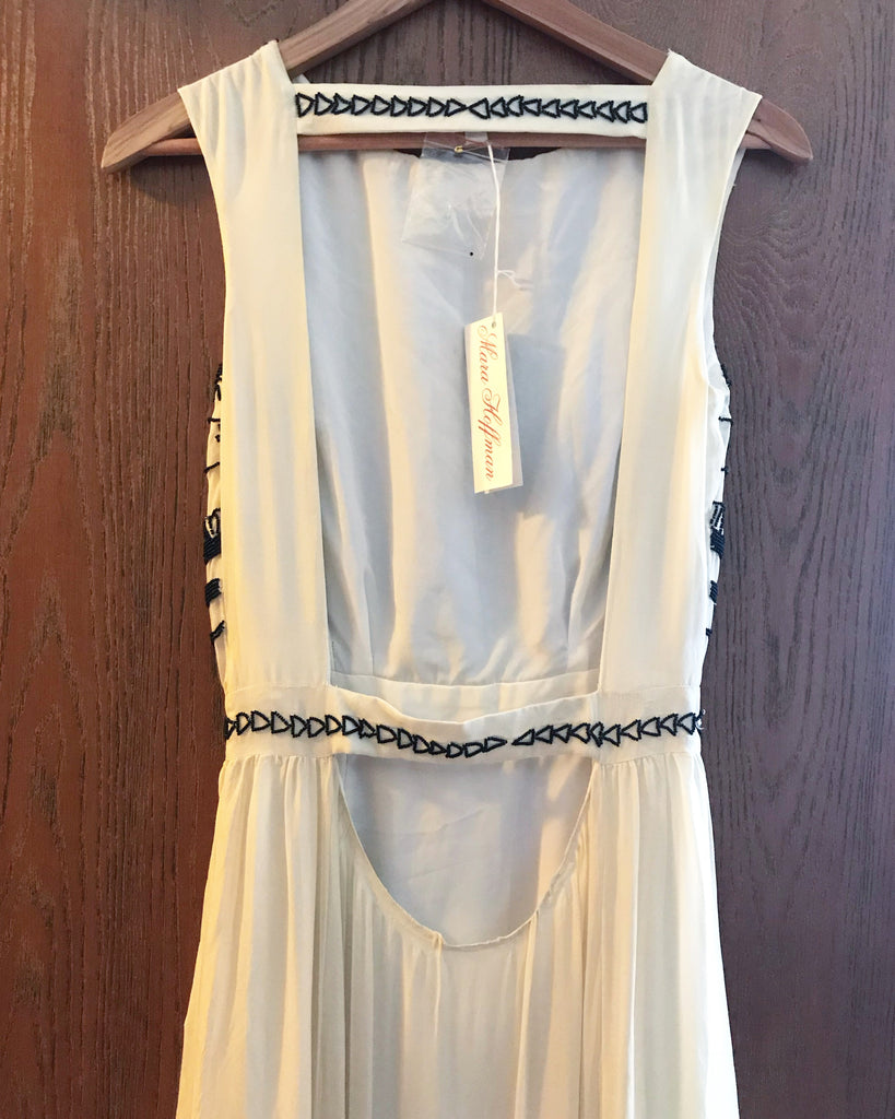 Mara Hoffman 'Beaded Silk Chiffon' size 0 new wedding dress back view on hanger