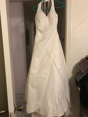 Custom 'Imperial' size 8 used wedding dress front view on hanger