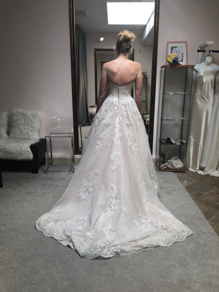 Eddy K '197' size 8 sample wedding dress back view on bride