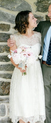 BHLDN 'Queen Anne' size 2 used wedding dress front view on bride