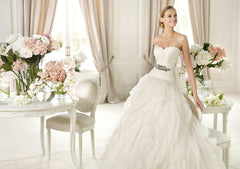 Pronovias 'Benicarlo' Strapless Corset Wedding Gown - Pronovias - Nearly Newlywed Bridal Boutique - 3