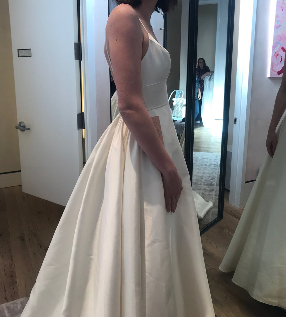 BHLDN 'Opaline' size 4 new wedding dress side view on bride