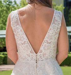 Maggie Sottero 'Alba' size 4 new wedding dress back view close up on bride