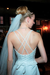Pronovias 'Hechizo' size 0 used wedding dress back view on bride